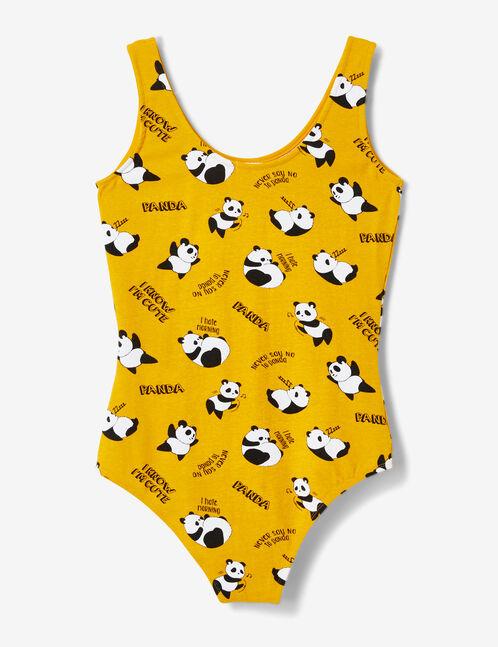 Ochre panda print bodysuit