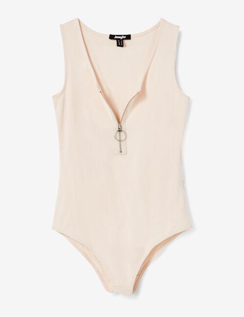 body avec zip rose clair