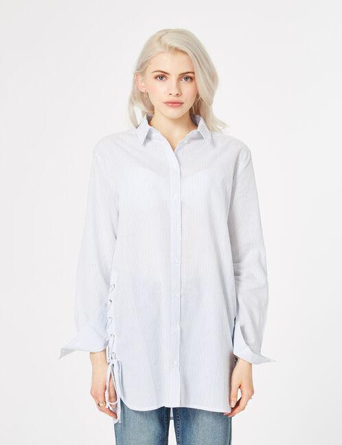 chemise longue avec laçage écrue et bleu clair
