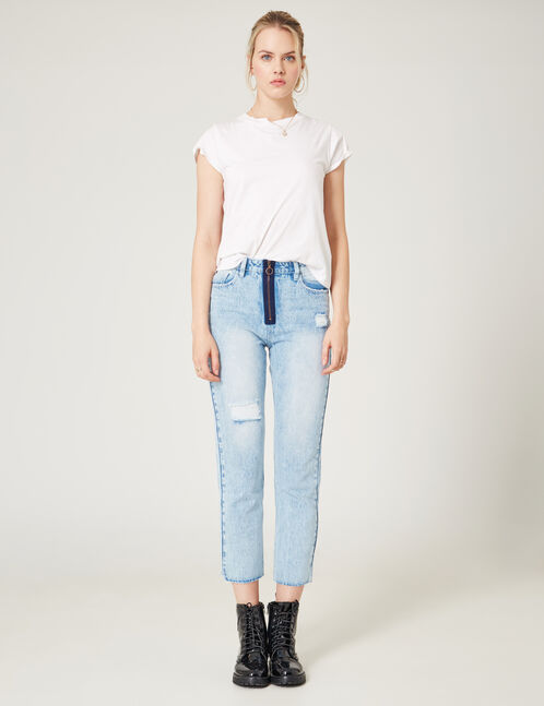 Light blue mom jeans with zip detail