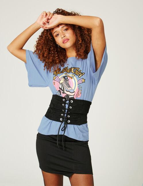 tee-shirt roller girl bleu
