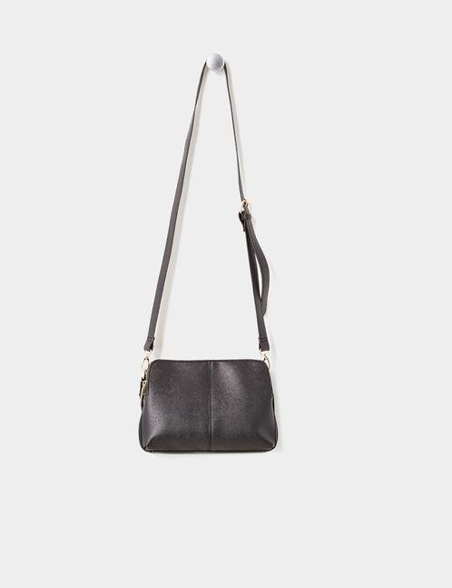 sac besace bi-matière noir