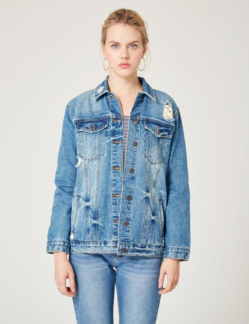 veste en jean brodée medium blue