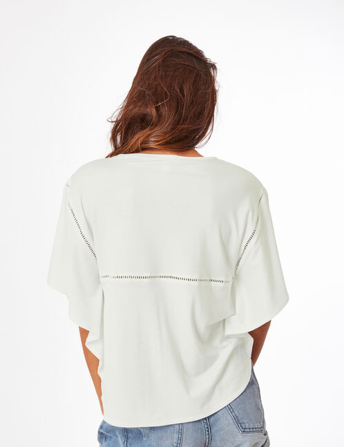 Cream T-shirt with embroidered detail