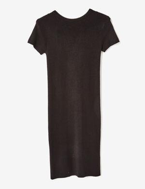 robe côtelée avec laçage noire