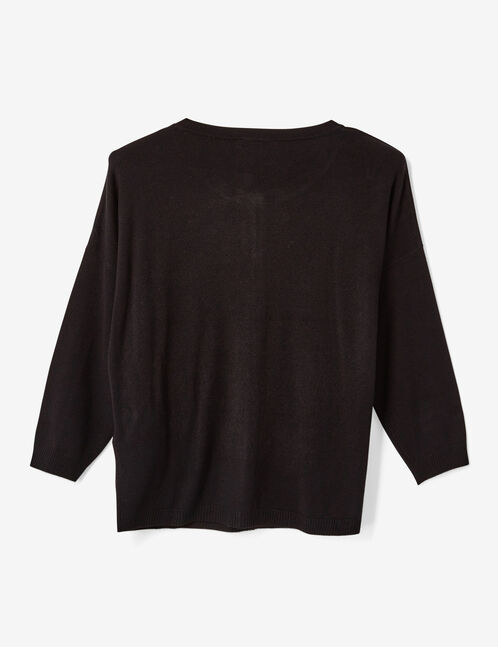 Black cardigan with 3/4-length sleeves