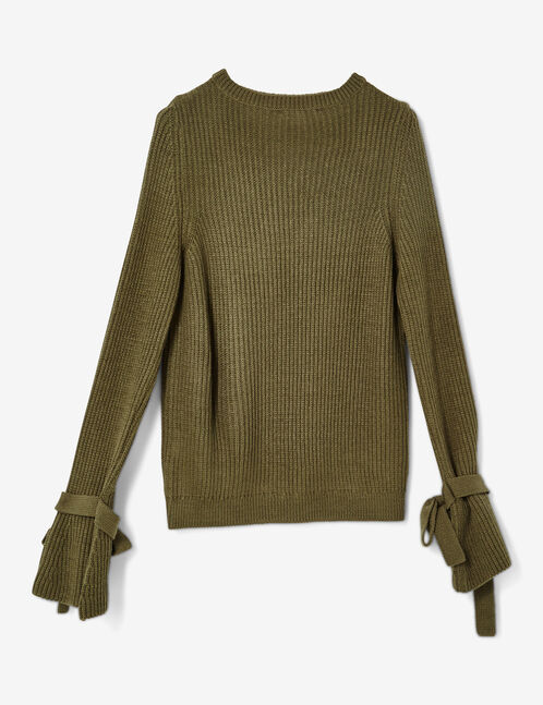 Khaki jumper with tied sleeve detail