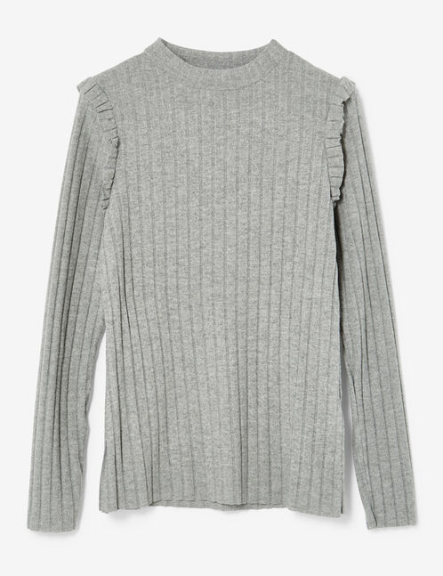 Grey marl ribbed top with frill detail