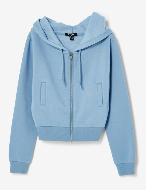 Cropped blue zip-up hoodie
