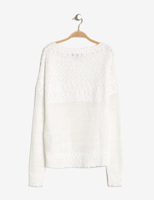 Cream mixed fabric jumper