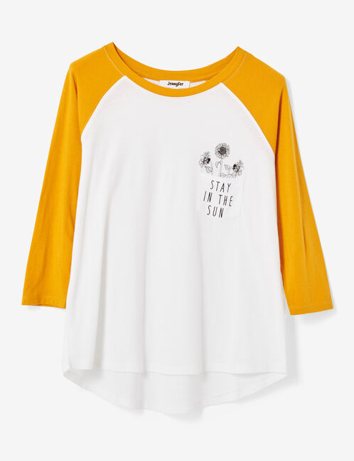 White and yellow two-tone printed T-shirt