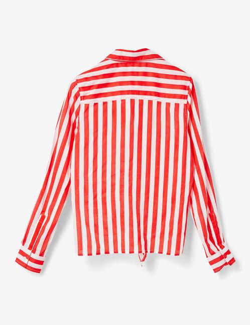 chemise rayée à nouer blanc et rouge