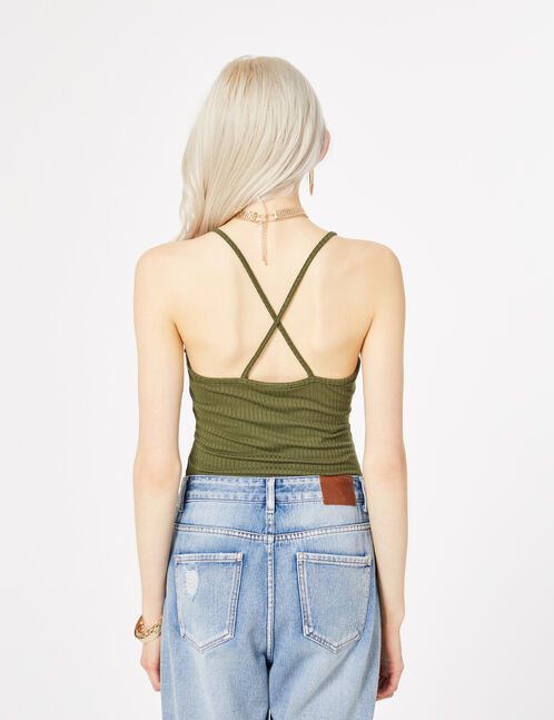 Khaki bodysuit with crossover strap back detail