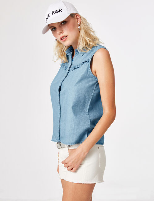 Medium blue blouse with frill detail