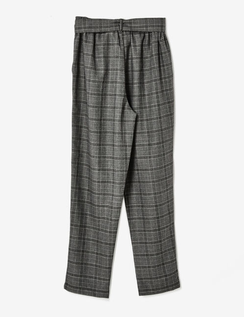 Black and grey checked trousers
