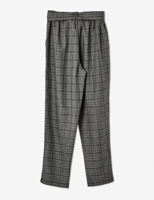 pantalon à carreaux noir et gris