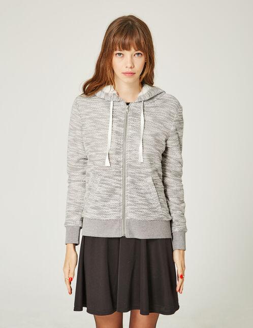 sweat zippé doublé gris chiné et écru