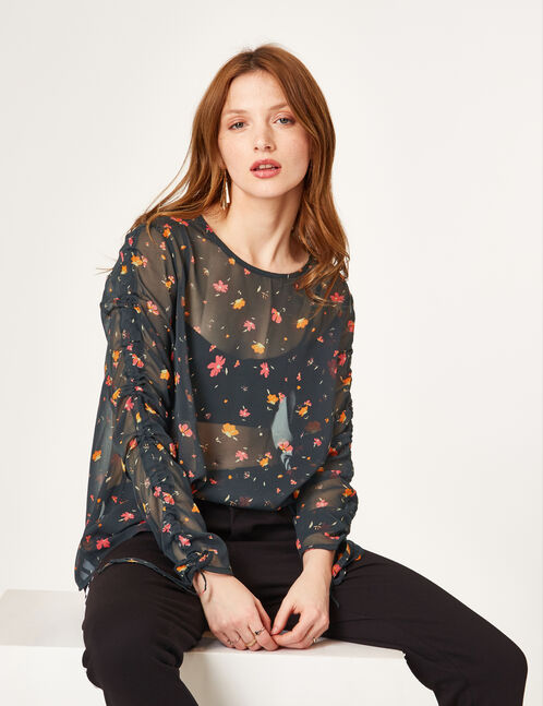 Black blouse with gathered sleeve detail