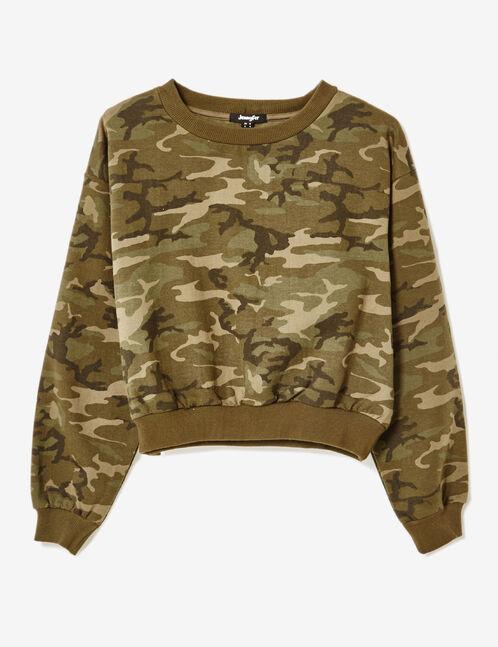 Cropped khaki camouflage sweatshirt