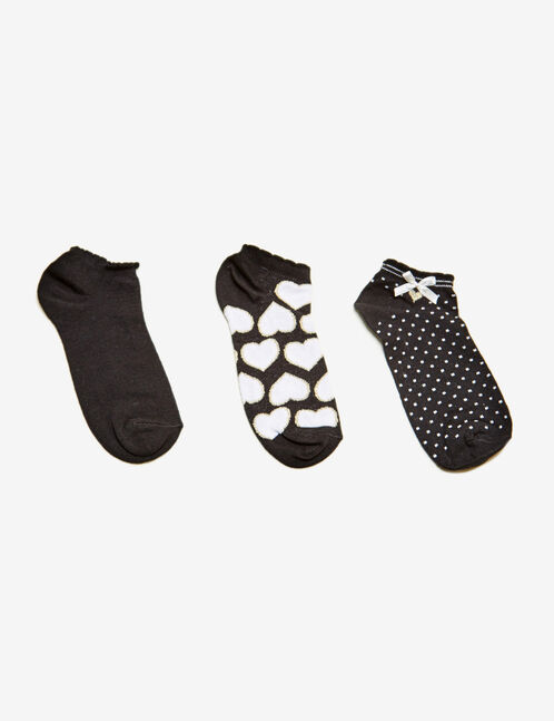Black, white and gold heart and bow detail socks