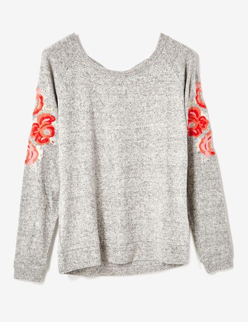 tee-shirt brodé gris chiné