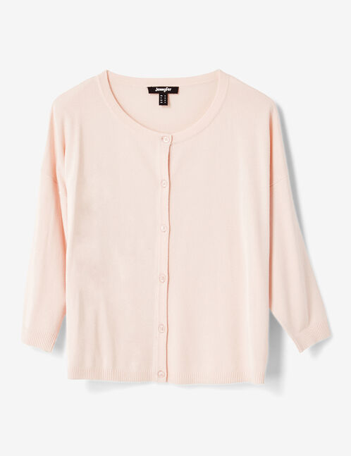 Light pink cardigan with 3/4-length sleeves