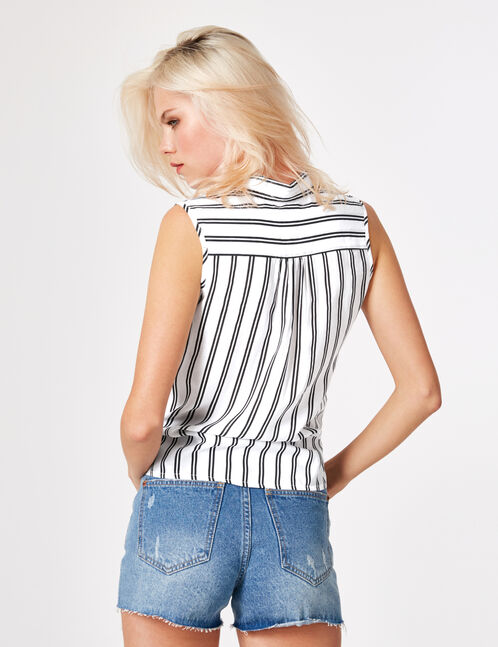 White and black striped tie-fastening blouse
