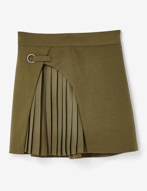 jupe bi-matière kaki