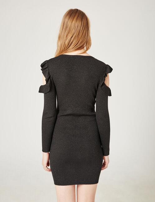 robe pull épaules ajourées noire