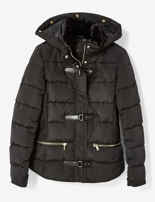 Black padded jacket with strap detail