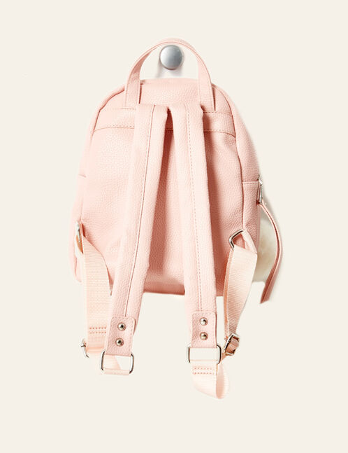 Small light pink backpack with pompom detail