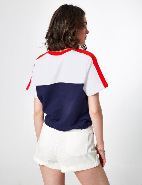 sweat tricolore à message rouge, blanc et bleu marine