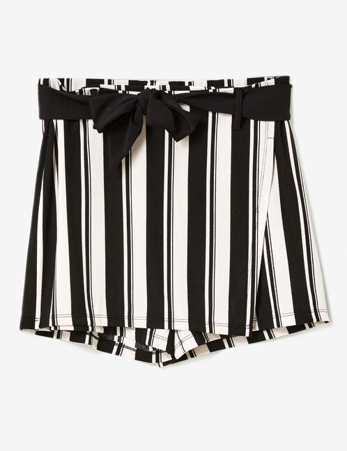 White and black striped skort