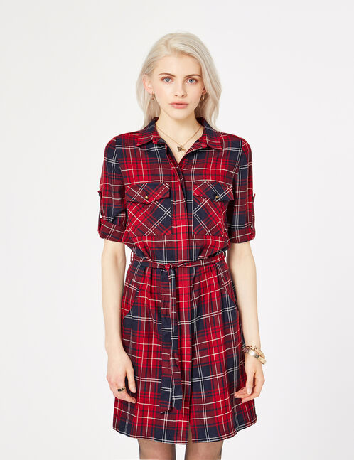 Burgundy, navy blue and white checked shirt dress