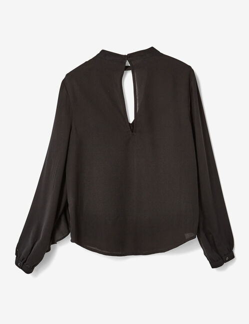 Black blouse with frill and stud details
