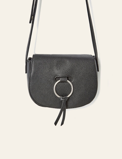 Black crossbody bag with buckle detail