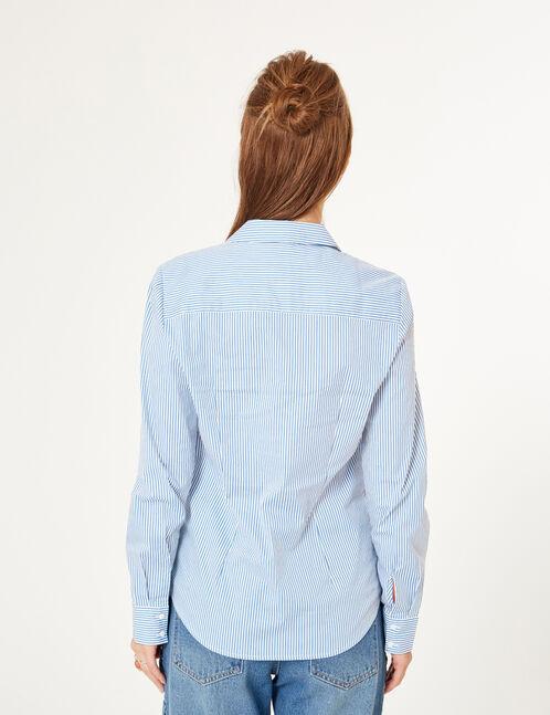chemise cintrée rayée bleue et blanche
