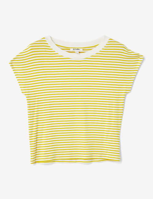 Cream and yellow striped T-shirt