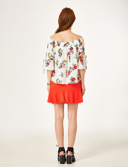 Flared red skirt with frill detail