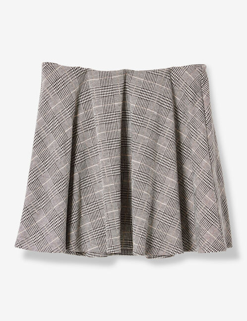 jupe motif prince de galles gris