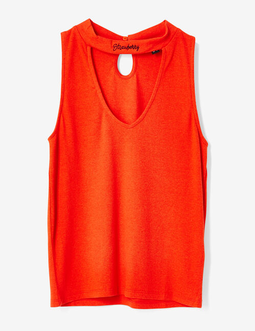 Red tank top with cut-out detail