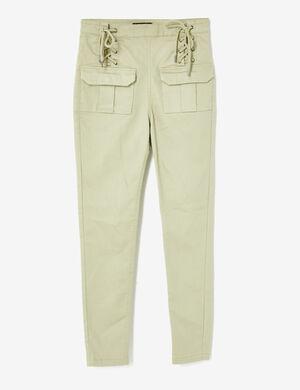 pantalon avec laçages kaki clair