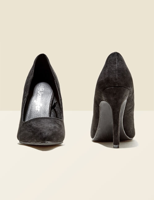 Black faux suede pointed court shoes