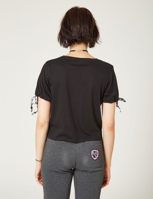 tee-shirt avec lien vichy noir