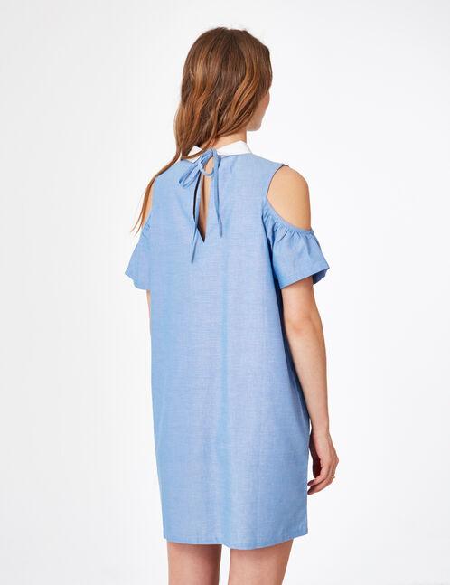 robe épaules ajourées bleu clair