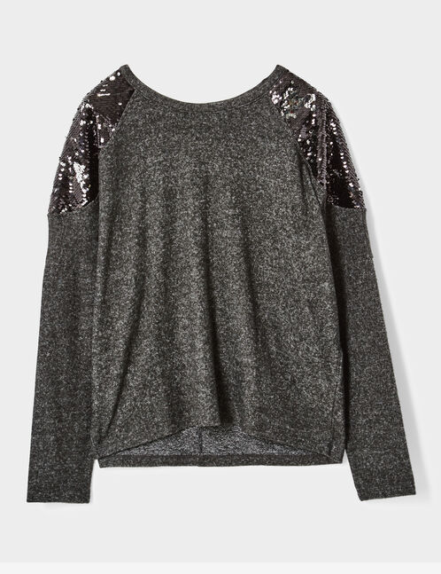 tee-shirt avec sequins gris anthracite chiné