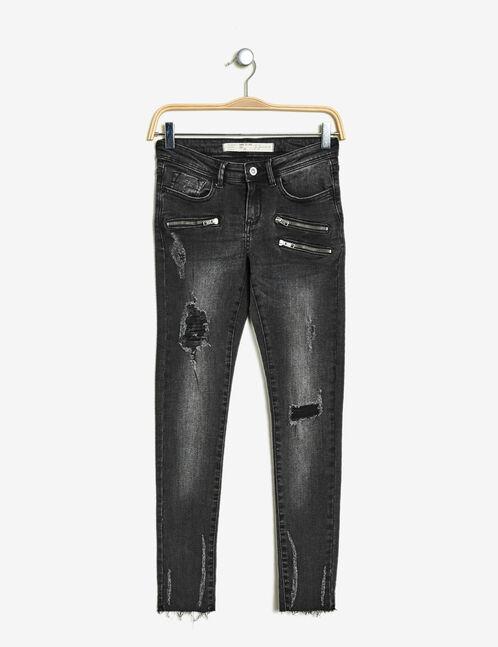 jean super skinny taille basse noir délavé