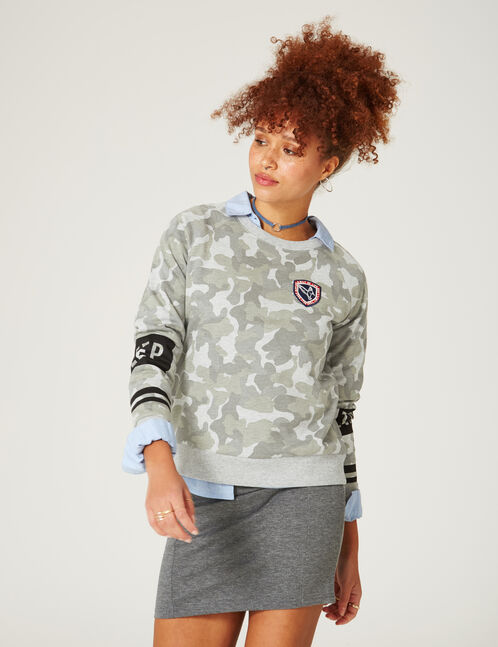 sweat keep track camouflage kaki et gris chiné