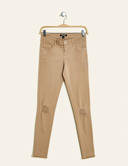 pantalon skinny destroy beige