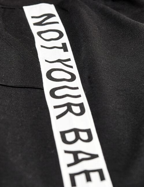 jogging imprimé not your bae noir